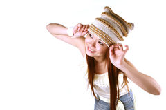 Asian girl with cap Royalty Free Stock Image