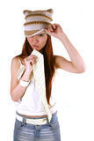 Asian girl with cap and tie Royalty Free Stock Photo