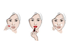 Asian girl care. Asian girl puts on her face cream and she paints her lips with red lipstick. Sketch style  illustration Stock Photography