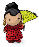 Asian girl cartoon. An illustration or cartoon of a little Asian girl in traditional clothing, holding a paper fan Stock Images