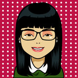 Asian Girl Cartoon. Character with black straight hair and light skin. Draw in cartoon and retro comic style stock illustration