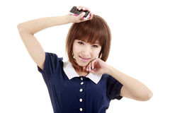 Asian girl with cellphone Stock Images