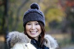 Asian girl in Central Park Stock Photo