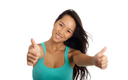 Asian Girl Cheering Stock Photo