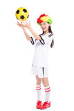 Asian girl cheerleader, chinese. Beautiful cheerleader yellow soccer ball on a white background Royalty Free Stock Images