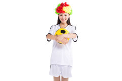 Asian girl cheerleader, chinese. Beautiful cheerleader yellow soccer ball on a white background Royalty Free Stock Image