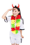 Asian girl cheerleader, chinese. Happy cheerleader holding pom-pom, white background Royalty Free Stock Images
