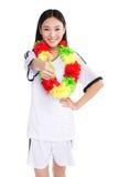 Asian girl cheerleader, chinese. Happy cheerleader holding pom-pom, white background Stock Photo