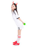Asian girl cheerleader, chinese. Uniformed cheerleader a pose with a megaphone isolated on white Stock Image