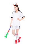 Asian girl cheerleader, chinese. Uniformed cheerleader a pose with a megaphone isolated on white Royalty Free Stock Photos