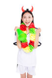 Asian girl cheerleader, chinese. Uniformed cheerleader a pose with a megaphone isolated on white Royalty Free Stock Images