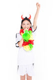 Asian girl cheerleader, chinese. Uniformed cheerleader a pose with a megaphone isolated on white Royalty Free Stock Image