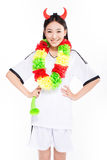 Asian girl cheerleader, chinese. Uniformed cheerleader a pose with a megaphone isolated on white Royalty Free Stock Photography