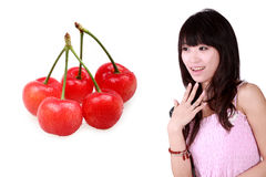 Asian girl and cherry Royalty Free Stock Photography