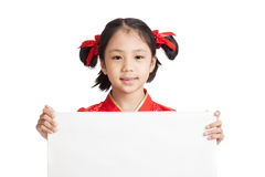 Asian girl in chinese cheongsam dress with blank sign Royalty Free Stock Image