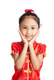 Asian girl in chinese cheongsam dress Royalty Free Stock Images