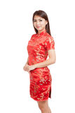 Asian girl in chinese cheongsam dress Royalty Free Stock Photos