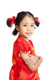 Asian girl in chinese cheongsam dress Royalty Free Stock Photo
