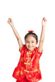 Asian girl in chinese cheongsam dress put her hands up Stock Photography