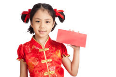 Asian girl in chinese cheongsam dress with red envelope Royalty Free Stock Photography