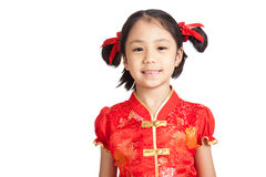 Asian girl in chinese cheongsam dress smile Stock Image