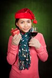 Asian girl with christmas hat ,wine and gift box Royalty Free Stock Photo