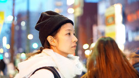 Asian girl in the city night Stock Images