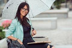 Asian girl city portrait. Stock Photo