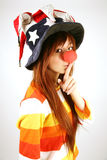Asian girl clown Stock Photo
