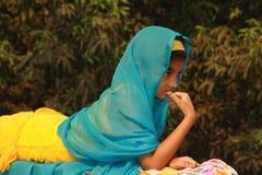 Asian girl in colorful sari Stock Photo