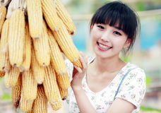Asian girl in the countryside Stock Photography