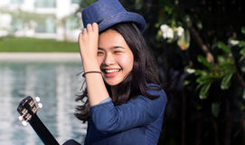 Asian girl cute smile face on green park royalty free stock photo