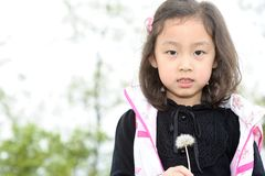 Asian girl and Dandelion Royalty Free Stock Photos