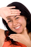 Asian girl doing a handframe Stock Photo