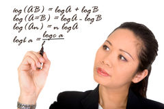 Asian girl doing mathematics Stock Image