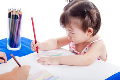 Asian girl drawing picture Stock Images