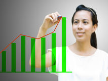 Asian girl drawing trend graph Royalty Free Stock Image
