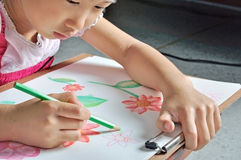 Asian girl draws flower picture by colour pencil Royalty Free Stock Image