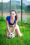 Asian girl dressed in Italian cheerleaders clothing. Football baby, Asian girls dressed cheerleaders clothing Italy, support of the Italian soccer team Stock Images