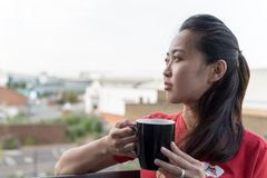 Asian Girl Drinking Coffee Stock Photography