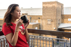 Asian Girl Drinking Coffee Royalty Free Stock Images
