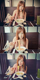 Asian Girl Eating Japanese Ramen in vintage color set Royalty Free Stock Photography