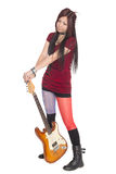 Asian girl with electric guitar Royalty Free Stock Images