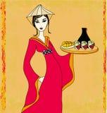 Asian girl enjoy sushi - doodle illustration Stock Photo