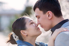 Asian girl and european guy kissing against of blossoming almond Stock Photos