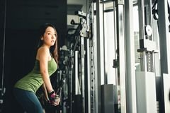 Asian girl exercising at gym, training on pushdown cable machine, with copy space. Healthy lifestyle, sporty athletic woman Stock Image