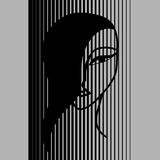 Asian girl. Face of Asian girl on the black-and-white striped background Royalty Free Stock Image