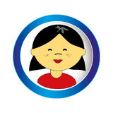 Asian girl face with short hair in circular frame Royalty Free Stock Images
