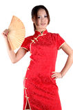 Asian girl with fan Stock Images