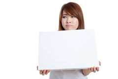 Asian girl fed up hold blank sign Royalty Free Stock Photography